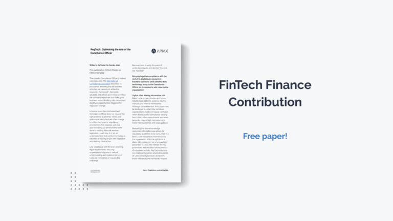 Contribution from FinTech Finance about optimising the role of the compliance officer