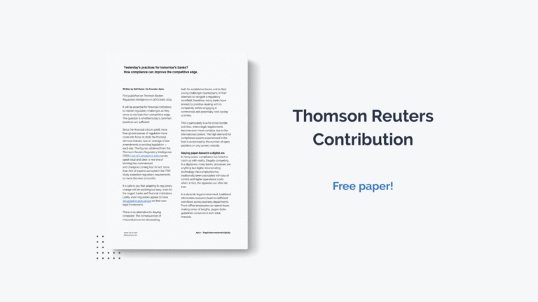 Contribution from Thomas Reuters about how compliance can improve the competitive edge