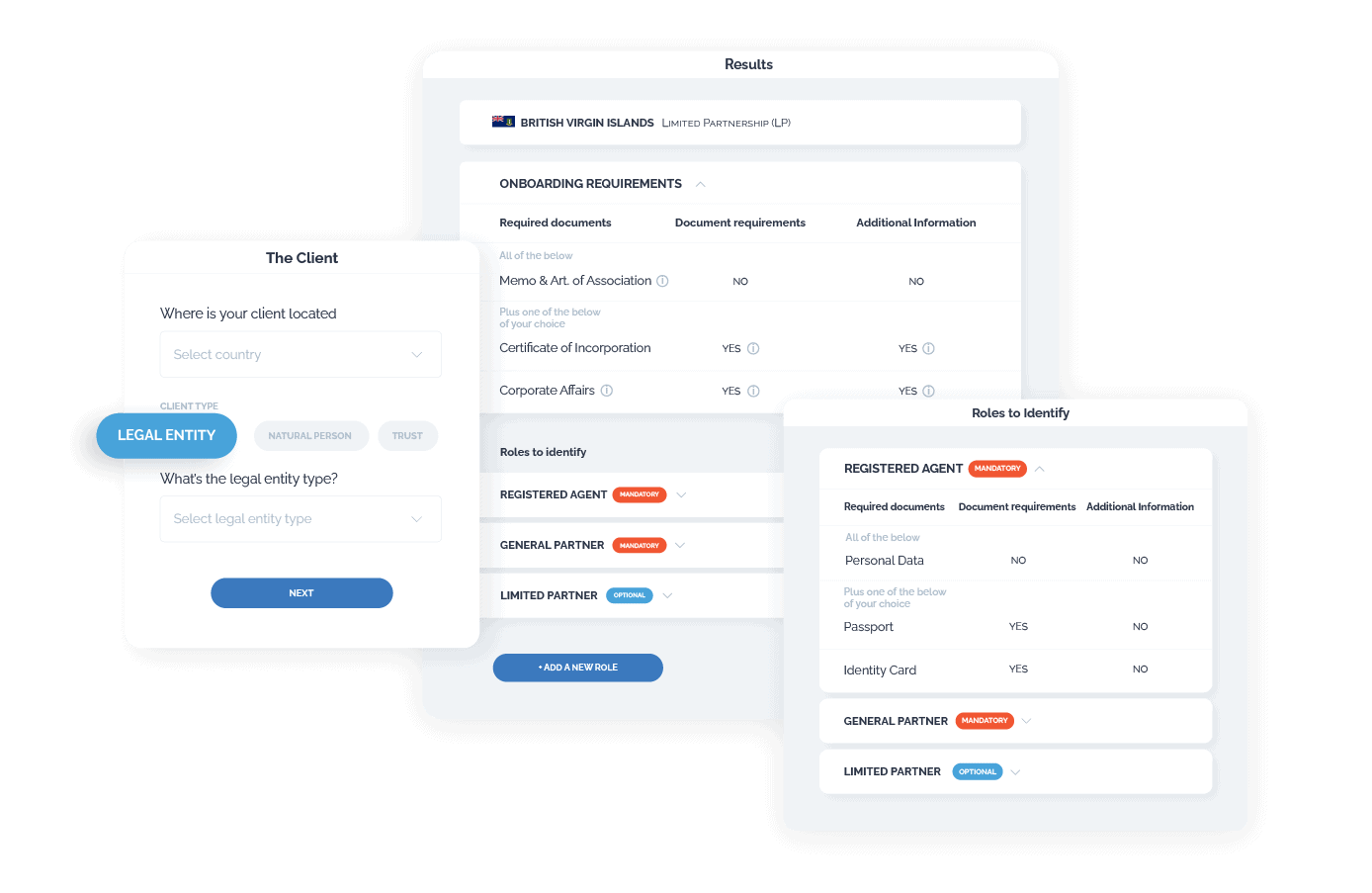 Image of the client onboarding app