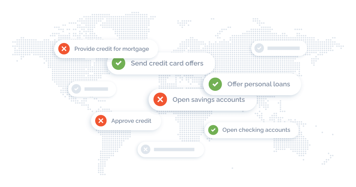 map highlighting highlighting solutions for retail banking